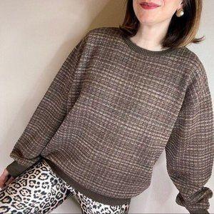 Vintage merino wool woven brown Grandpa sweater L